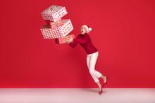 Mature Woman In Red Santa Clau...