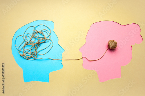 Fotografia Two people communicate face to face, man and woman