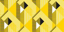 Yellow And Black Geometric Modern Seamless Pattern