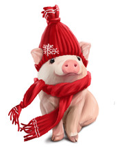 A Little Piggy In A Red Hat And A Scarf. Watercolor Painting