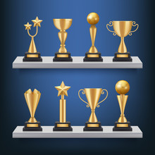 Awards Shelves. Trophies Medals And Cups On Bookshelf Vector Realistic Concept Of Sport Competition Winners. Trophy Cup For Winner, Success Prize Illustration