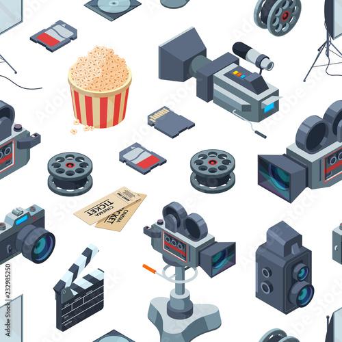 wektor-kinematograf-elementow-izometrycznych-wzor-lub-tla-ilustracji-kino-bez-szwu-film-izometryczny-i-wideo-produkcja-kinematografi