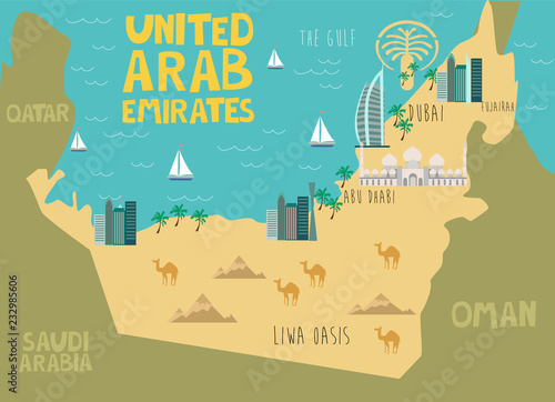Canvas Print Illustration map of United Arab Emirates with nature, animals and landmarks