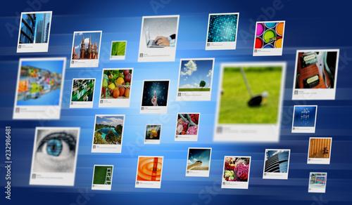 Fototapeta Photo and image sharing concept on Internet obraz na płótnie