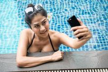 Sexy Asian Woman  Selfie In Pool