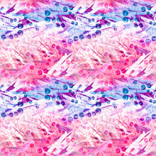 Seamless Watercolor Pattern With The Image Of A Cluster Of Berries Of A Mountain Ash, Cherry, Viburnum, Leaves. In The Decorative Style. Pink, Blue, Purple, White Color. Abstract Splash Of Paint.