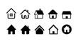 家ホームアイコンセット白黒