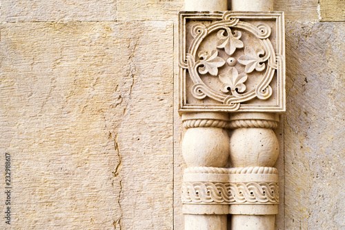 Wall facade with columns and with floral bas-relief Wallpaper Mural