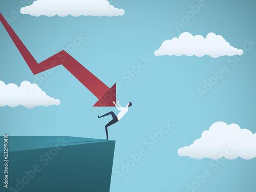 Cuadros en Lienzo Bankrupt businessman falling off a cliff, pushed by downward arrow