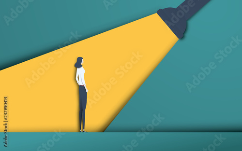 Fotomural Business recruitment and talent headhunting vector concept in modern 3d paper cutout style