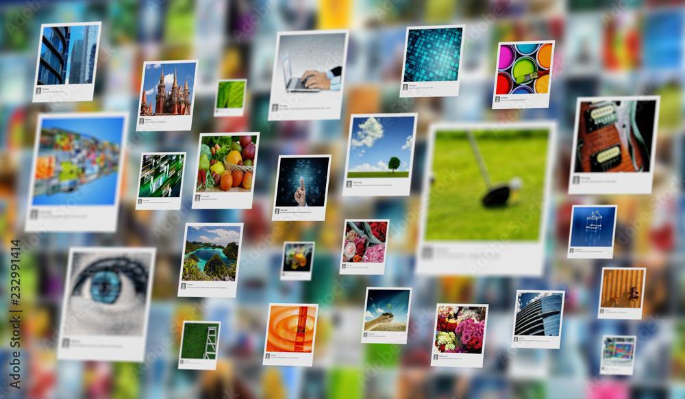 Fototapeta Photography and image sharing concept on Internet - obraz na płótnie