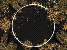 Christmas And New Year Shiny Poster With Gold Snowflakes And Fir Branches.