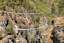 Rope Hanging Suspension Bridges In Nepal Himalayas