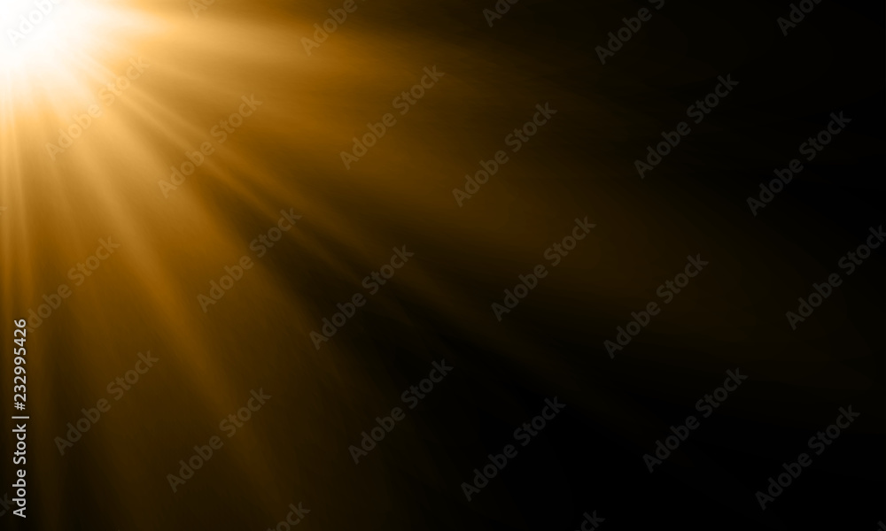 Fototapety, obrazy: Light ray or sun beam vector background. Abstract gold light sparkle flash spotlight backdrop with golden sunlight shine on black background