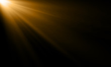 Golden Light Ray Or Sun Beam Vector Background. Abstract Gold Light Flash Spotlight Backdrop With Golden Sunlight Shine On Black Background