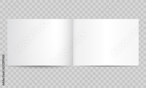 Fototapeta Book or magazine open blank pages. Vector isolated 3D catalog brochure or A4 horizontal landscape album booklet mockup with empty pages obraz