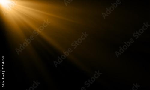 Fotografia Golden light ray or sun beam vector background