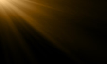 Gold Light Ray Or Sun Beam Vector Background. Abstract Gold Light Flash Spotlight Backdrop With Sunlight Shine Background