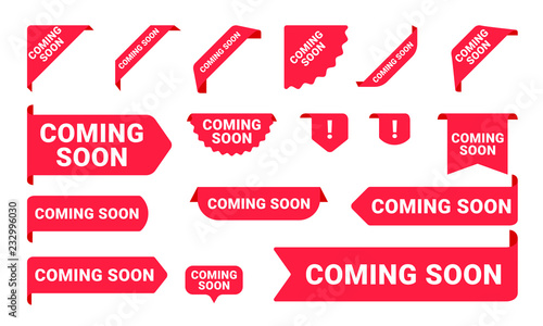 Coming Soon promo banners, stickers and tag labels Wallpaper Mural