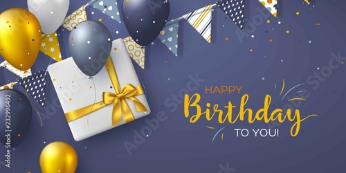 Photo Happy Birthday holiday design for greeting cards