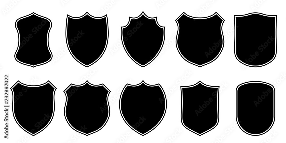 Fototapety, obrazy: Badge patch shield shape vector heraldic icons. Football or soccer club or military police clothing badge patch blank black templates isolated set