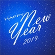 Merry Christmas and Happy New Year. 2019. Blue background. Vector illustration