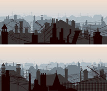 Horizontal Banners Of Downtown Roofs With Antennas And Chimney.