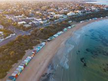 Aerial View Of Brighton Bathing Boxes, Melbourne, Australia.