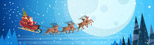 Santa Claus Flying In Sledge W...
