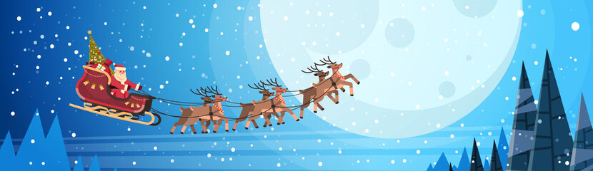 santa claus flying in sledge with reindeers night sky over moon merry christmas happy new year horizontal banner winter holidays concept flat vector illustration