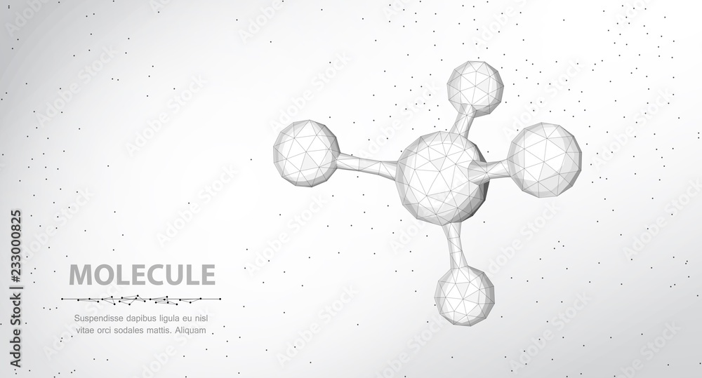 Fototapety, obrazy: Molecule. Abstract futuristic wireframe 3d micro molecule structure with sphere.