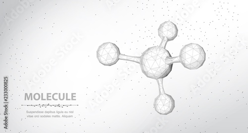 Molecule. Abstract futuristic wireframe 3d micro molecule structure with sphere.