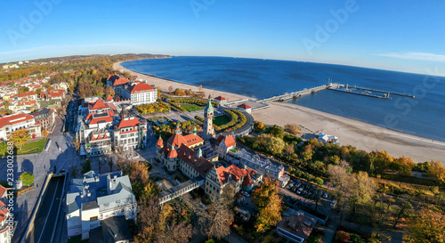 Photo  Aerial panorama landscape of Sopot city with sea view