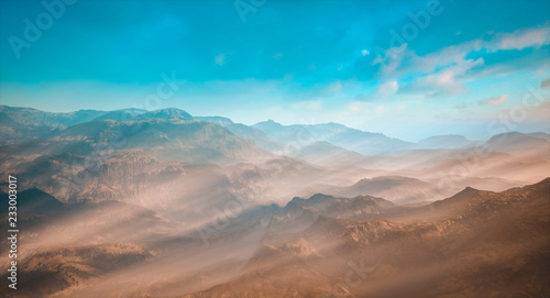 Spoed Foto op Canvas Cappuccino Picturesque mountain landscape in morning light