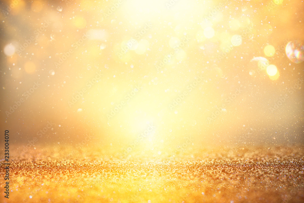 Fototapety, obrazy: glitter vintage lights background. silver and gold. de-focused.