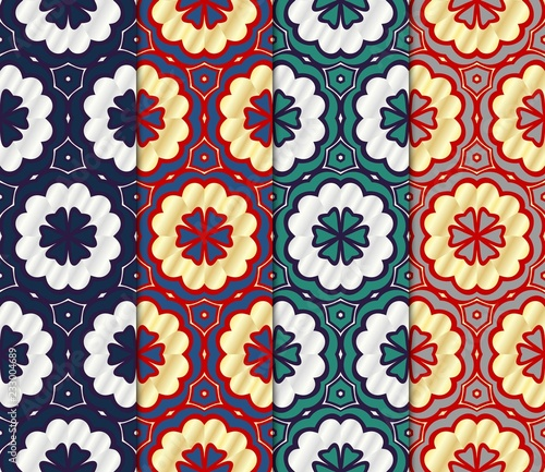 Tuinposter Marokkaanse Tegels Set of Decorative wallpaper for interior design. line texture for wallpaper, packaging, banners, textile fashion fabric print, invitation cards. Seamless vector illustration