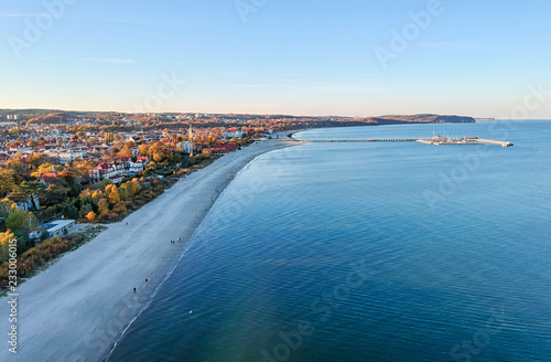 Aerial sea view for Sopot down city Canvas Print