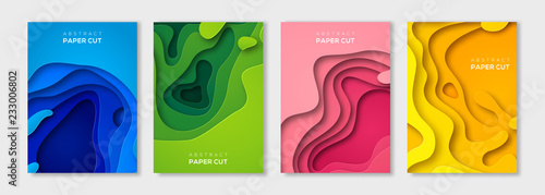 Photo Vertical paper cut banners set