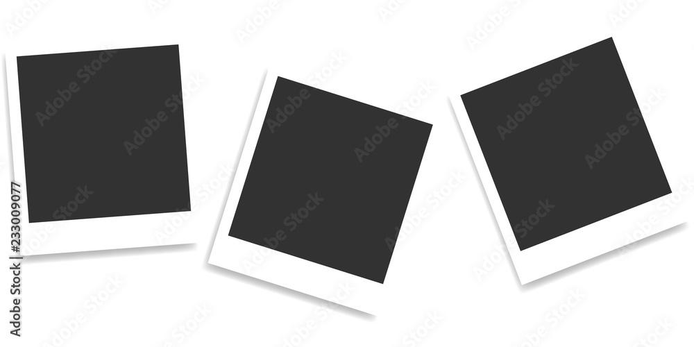 Composition of realistic black photo frames on light background. Mockups for design. Vector illustration