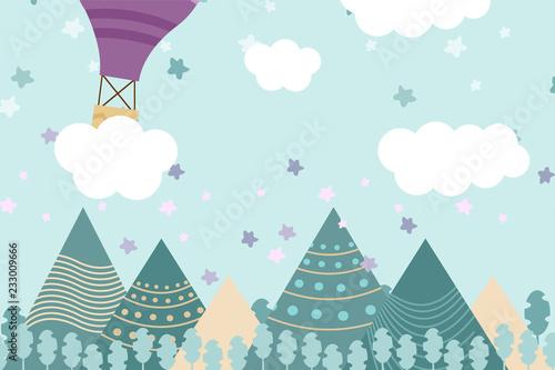 tapeta-pokoj-dla-dzieci-z-zimowym-lasem-grafika-i-balonem-moze-byc-uzywany-do-drukowania-na-scianie-poduszkach-dekoracyjnym-wnetrzu