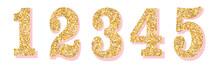 Glitter Numbers With Pink Shad...