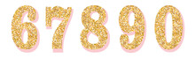Glitter Numbers With Pink Shadow. Part 2. For Decoration Of Cute Wedding, Anniversary, Party, Label, Headline, Poster, Sticker. Vector Brilliant Shimmer 6,7,8,9,0. Christmas Elegant Celebration Design