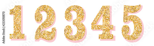 Fotografia Glitter numbers with pink shadow