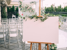Wedding Wood Board With Copy Space In Ceremony