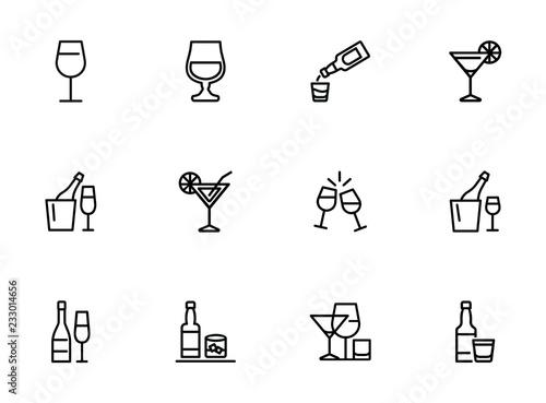 Tableau sur Toile Alcoholic drinks line icon set