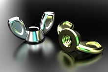 3d Illustration Of Wing Nuts Isolated On Metallic