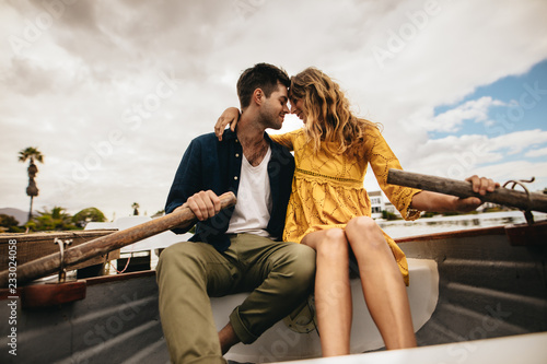 Valokuva  Romantic couple in love on a boat date