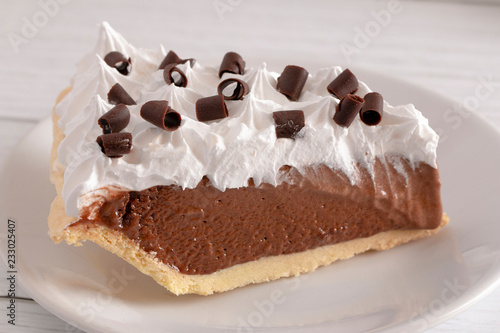 Fotografia, Obraz  French Silk Chocolate Cream Pie with Whipped Topping and Chocolate Curls