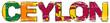 Word CEYLON with Sri Lanka national flag under it, distressed grunge look.