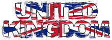 Text UNITED KINGDOM With Briti...
